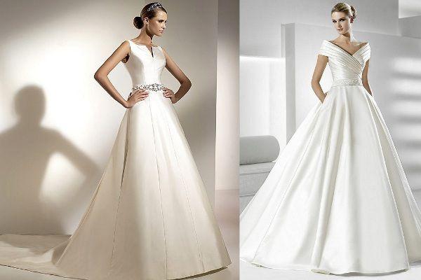 86dc84219 Satynowa suknia ślubna o fasonie litery A i w stylu retro